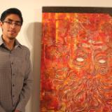 Rojos, símbolos, rostros, líneas y números en exposición Pictórica