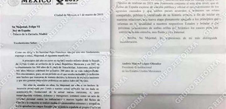 La carta con la que AMLO pidió disculpas del Rey
