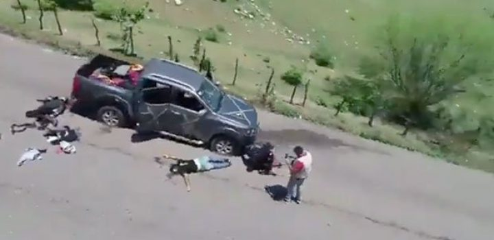 Con dron, 'El Abuelo' presume cómo dejó a los del CJNG
