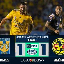 Tigres dejó ir vivas a las Aguilas y se conformó con empate a 1