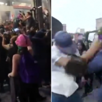 Grupo de mujeres vandaliza el metrobús Insurgentes