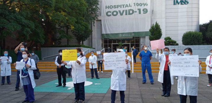 Personal del IMSS protesta por falta de insumos para Covid